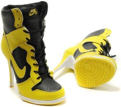 http://www.asneakers4u.com Womens Nike Dunk High Heels Yellow Black