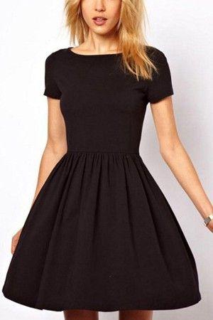 Black Pleated Short Sleeve Casual Dress