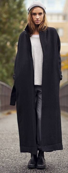 // long coat, oversize everything