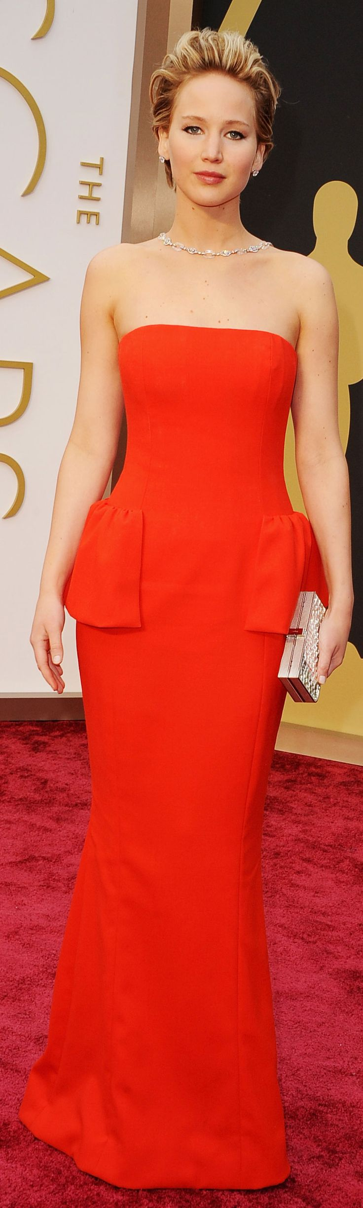 Jennifer Lawrence in a glamorous Dior gown on the Oscars red carpet. #AcademyAwards