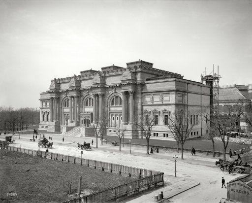 "New York circa 1902. ""Metropolitan Museum of Art."" The Fifth Avenue addition to the original 1874 structure nearing completion. The pyramids of rough-hewn limestone blocks in the Beaux-Arts cornice, intended to serve as the basis for four sculptural groups, remain unfinished to this day."