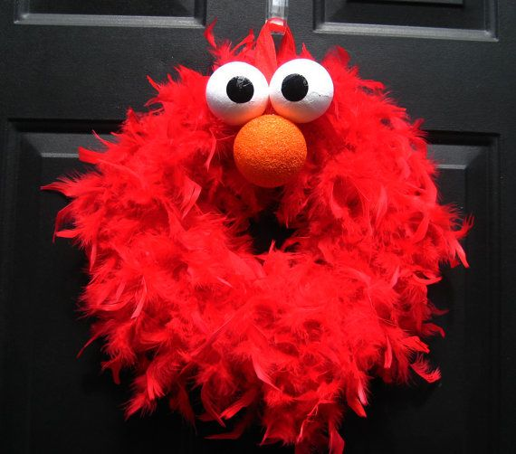 Red Elmo Feather Wreath by APinkLemonadeDesigns on Etsy, $30.00