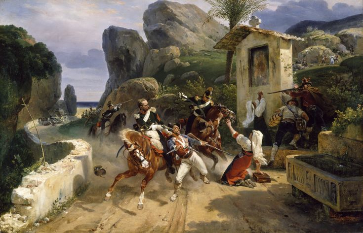 upload.wikimedia.org wikipedia commons 0 03 Horace_Vernet_-_Italian_Brigands_Surprised_by_Papal_Troops_-_Walters_3754.jpg
