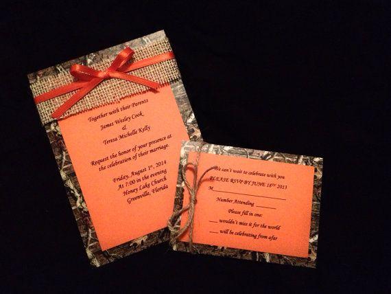 Mossy Oak Camo and Orange Wedding Invitation by SCharmCelebrations, $1.95