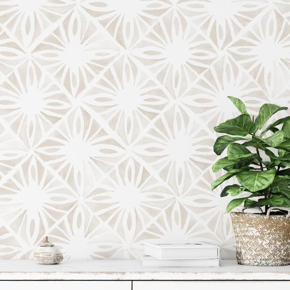 Moroccan Wind Wallpaper Linen Color Moroccan Tile Wallpaper Etsy Tile Wallpaper Peel And Stick Wallpaper Wallpaper