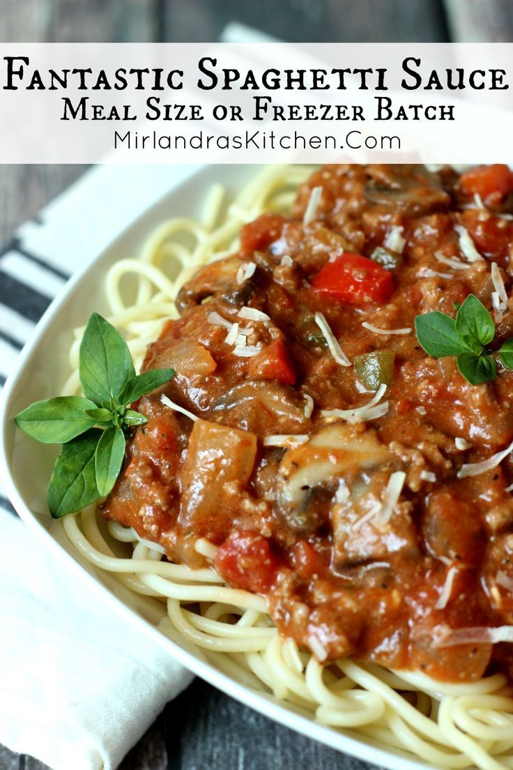 This unique Spaghetti Sauce has a bold, deep flavor from tons of herbs, peppers, mushrooms, a few surprise ingredients, and plenty of beef!  It is a great cook and freeze recipe for busy nights!