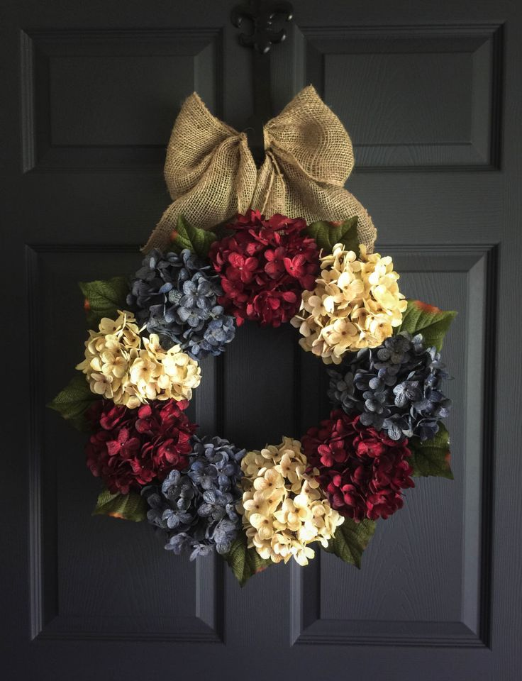 Americana Decor - Summer Wreath - Front Door Wreaths - Wreath - Red, White, and Exclusive Denim Blue Hydrangeas - Burlap - Front Porch Decor by HomeHearthGarden on Etsy https://www.etsy.com/listing/233804290/americana-decor-summer-wreath-front-door