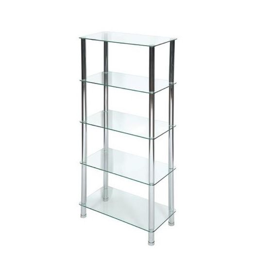 Bayley Modern Display Stand In Clear Glass With 5 Tiers, ideal for decorative use in your living room. Crafted from Tempered Clear Glass With Chrome Supports. It will make an ideal addition in your...