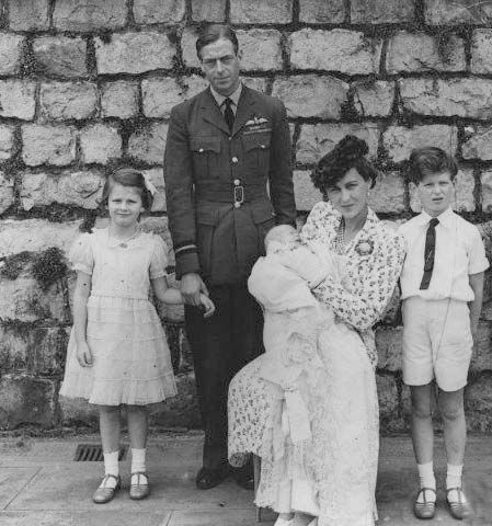 1942 Christening of Prince Michael of Kent - The Duke and Duchess of Kent, Prince Edward, and Princess Alexandra