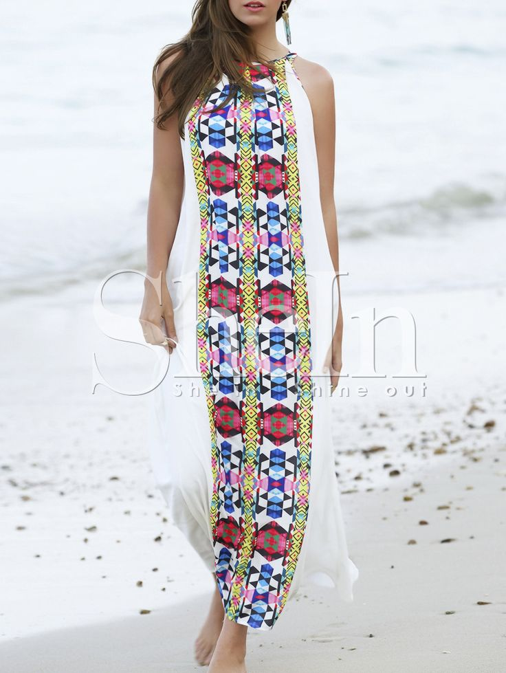 Multicolor+Placement+Print+Keyhole+Back+Maxi+Dress+22.99