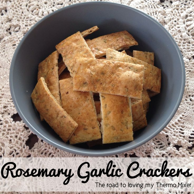 Earlier today I posted my Olive Oil Crackers. These are a variation on them - Rosemary Garlic Crackers! I love these because you only need a h