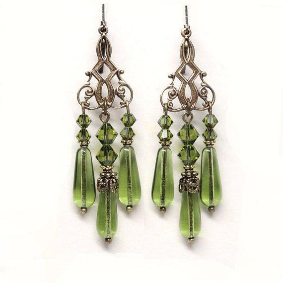 Olive Green Chandelier Earrings Olivine by ElandraDesigns on Etsy