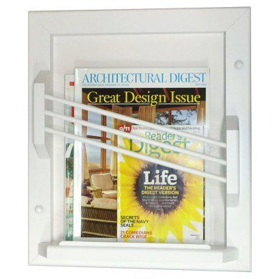 WG Wood Recessed Contemporary Magazine Rack - MER-16WHITE