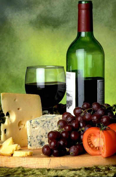 Wine, cheese, and fruit