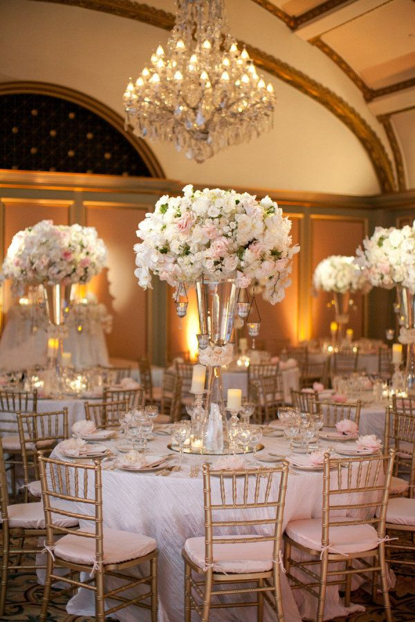 Pink white and gold wedding reception.