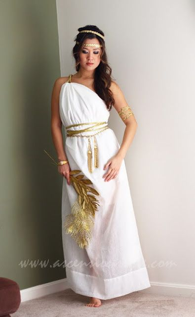 Greek goddess Halloween costume: What if we had the girls who handed out the programs dressed up as Greek Goddesses?