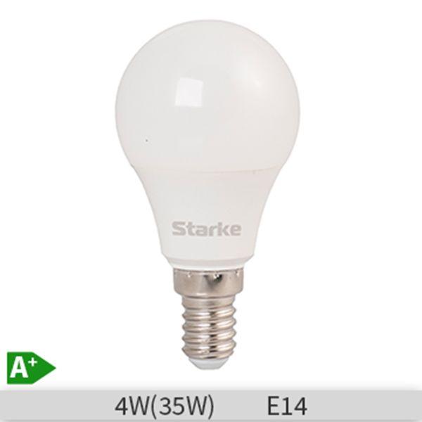 Bec LED STARKE Plus forma lustra P45, 4W-35W, E14, 30000 ore, lumina calda 3000K http://www.etbm.ro/tag/149/becuri-led-e14