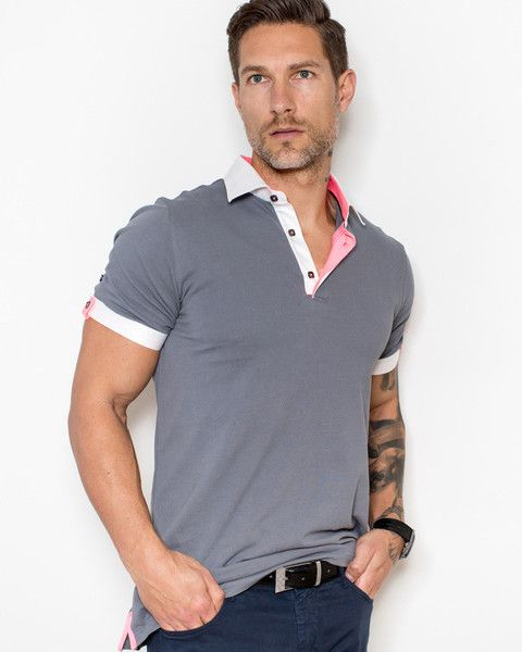 Grey polo shirt for men by Maceoo