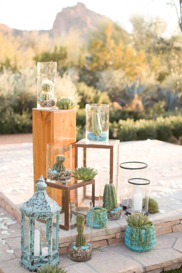 desert wedding ceremony decor - photo by Amy and Jordan Photography http://ruffledblog.com/a-desert-chic-wedding-with-turquoise