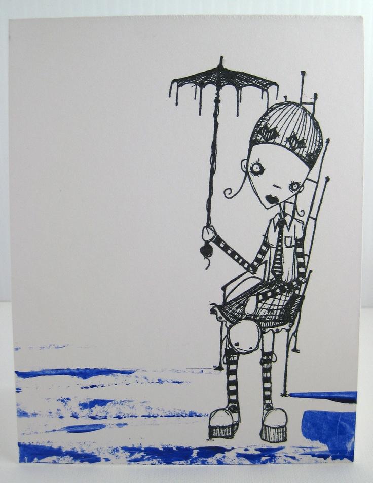 Blue Umbrella Girl: Cards Sets, Blue Umbrella, Simple Cards