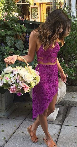 // Pinterest @esib123 //  #style #inspo #fashion crop top and skirt in  Purple lace.