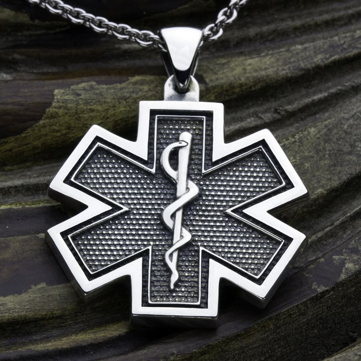 19 best firefighter sterling silver jewelry images on pinterest large ems paramedic star of life medical alert sterling silver necklace pendant aloadofball Image collections