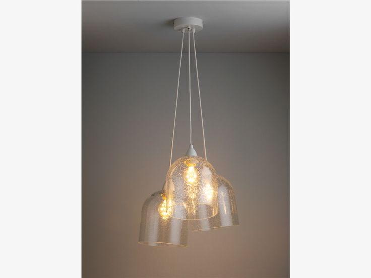 Liv clear glass 3 drop cluster ceiling light with bubbled glass shades habitatuk £120