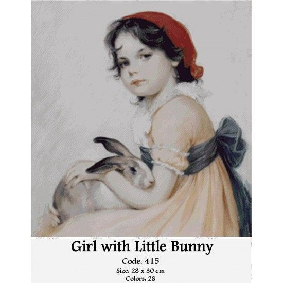 Cross Stitch Model Girl with little Bunny http://gobelins-tapestry.com/portraits/862-girl-with-little-bunny.html