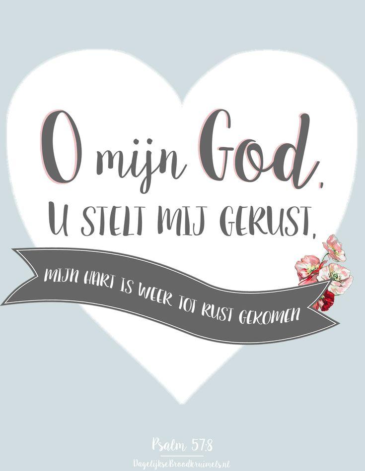 O mijn God, U stelt mij gerust, mijn hart is weer tot rust gekomen. Ik zal liederen en psalmen voor U zingen. Psalm 57:8 #God, #Hart, #Rust https://www.dagelijksebroodkruimels.nl/psalm-57-8/