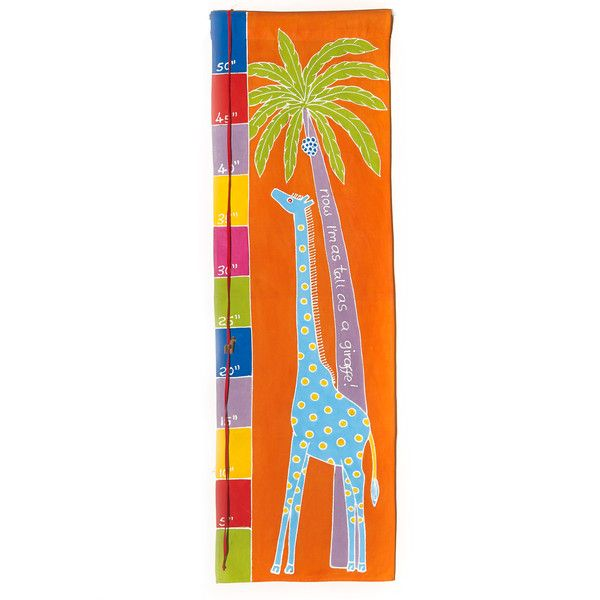 """Kids' Height Charts ~ Giraffe $40.00 USD Kids' height chart with adorable """"now I'm as tall as a giraffe"""" design in bright colourway. Height markings in Inches."""