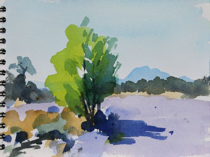 The Pic St Loup.  Watercolour 7 x 10 ins.   Philip Richardson