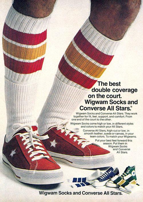 Vintage Ad. Converse All Stars & Wigwam socks, 1974
