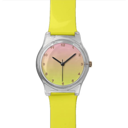 Pink & Yellow Watch by www.zazzle.com/htgraphicdesigner* #zazzle #gift #giftidea #wrist #watch #yellow #woman #girl #trendy