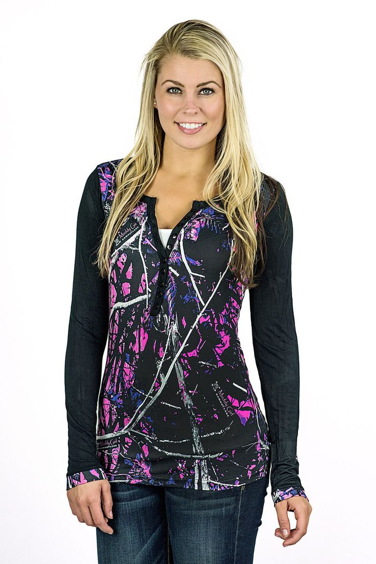 Moon Shine Camo - Muddy Girl Camo | Women's Pink Camo Henley, $29.99 (http://shop.moonshinecamo.com/muddy-girl-camo-womens-pink-camo-henley/)