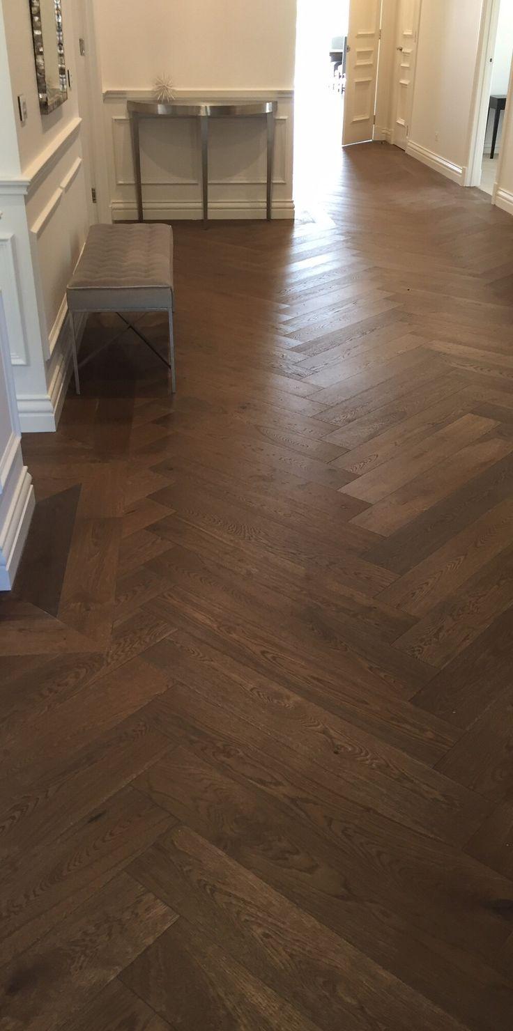 Interior timber floors - smoked oak floor boards herringbone style