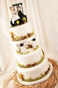 simple white Tractor cake