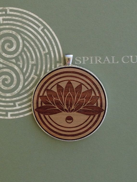 Lotus Design Large  Laser Engraved Wood Pendant by SpiralCutStudio