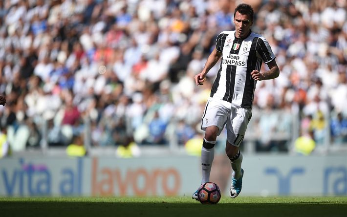 Download wallpapers Mario Mandzukic, Croatian footballer, 4k, Juventus, Italy, Serie A, football, green lawn