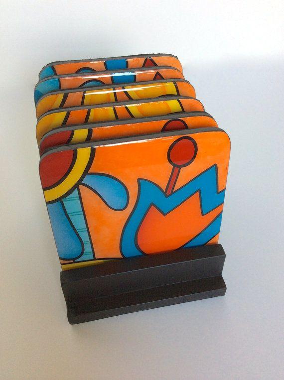 Posavasos y base de madera hecho a mano pintan de madera