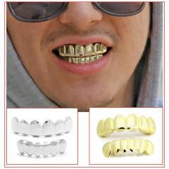 [ 21% OFF ] Funny Souvenir Hiphop Removable 14K Gold Plated Copper Grillz For Fun Gold Top& Lower Teeth Grills Set