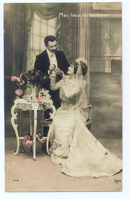 Bride and groom, c. 1900.