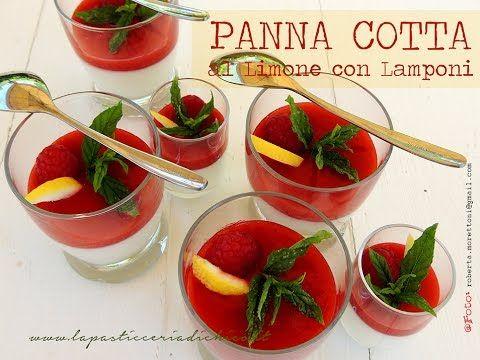Panna cotta al limone con lamponi-Panna cotta with raspberry