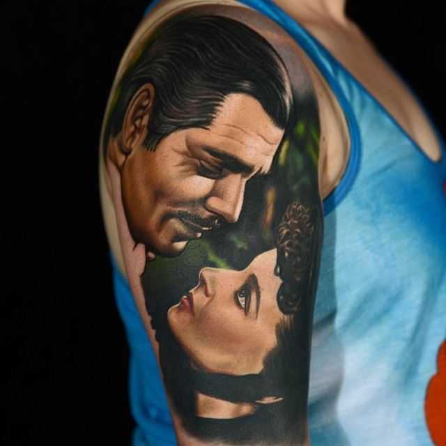 """Frankly, my dear, I don't give a damn"" #Clarkgable #Vivianleigh Gone With the Wind Tattoo In Progress by Nikko Hurtado"
