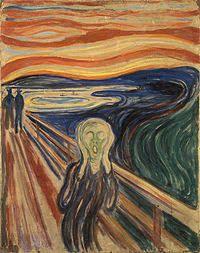 """""""O grito"""",Edvard Munch-1893.É uma obra expressionista,ela dá uma sensação de espanto,susto.Essa obra apresenta distorções,e possui também perspectiva."""