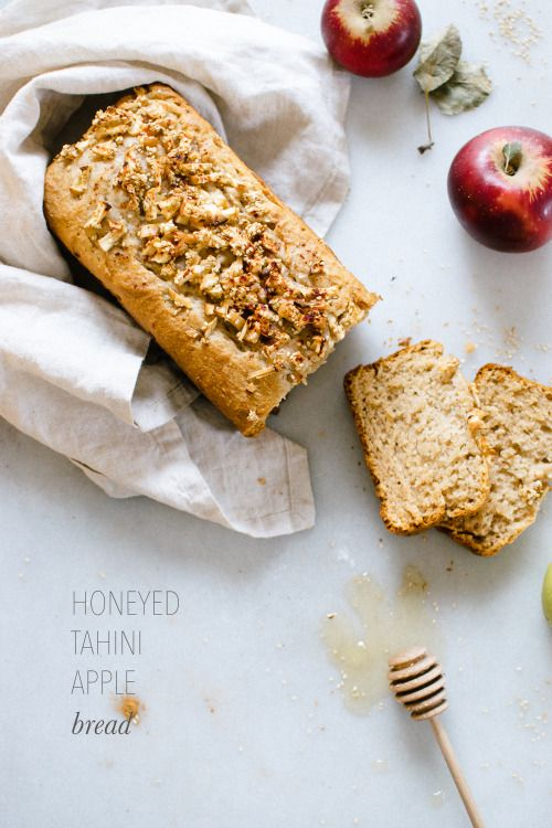 Honeyed Tahini Apple Bread. Basically vegan. Magic.