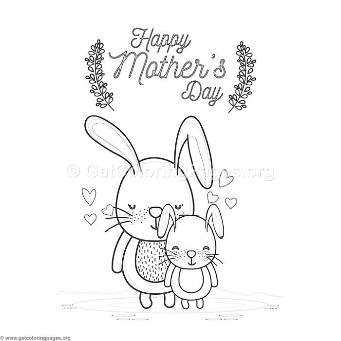 Free Download Cute Cartoon Rabbits Happy Mother S Day Card Coloring Pages Coloring Coloring Mothers Day Coloring Pages Coloring Pages Happy Mother S Day Card