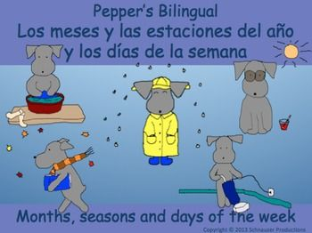 Join Pepper to discover seasons, months and days of the week in English and Spanish.  The pictures for each month show seasonal weather and not cultural celebrations.  For those in the Southern Hemisphere go here.  For French go here.   There are three interactive Powerpoints in English and three with Spanish vocabulary.
