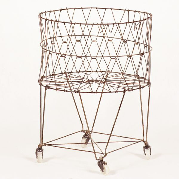 Wire Hamper with Wheels | Collapsible French Wire Laundry Basket with Wheels