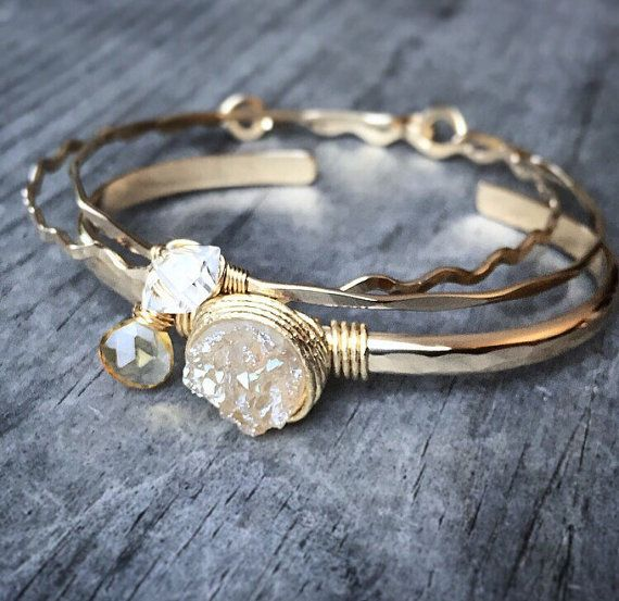 Champagne Druzy Quartz Cuff / Quartz Bracelet / Raw Gemstone Bangle / Modern Bridal Jewelry / Gifts for Her / Blush / Citrine / Herkimer