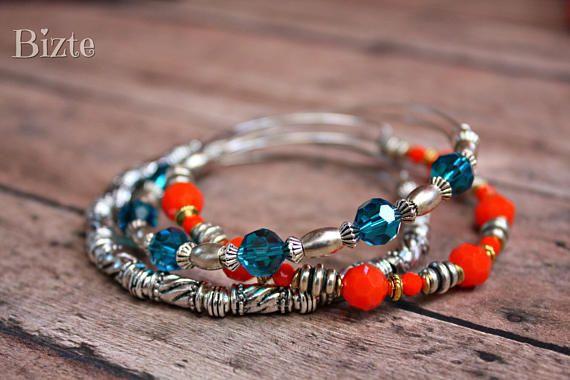Vintage Adjustable Gold Silver Bronze Coral Orange Sapphire
